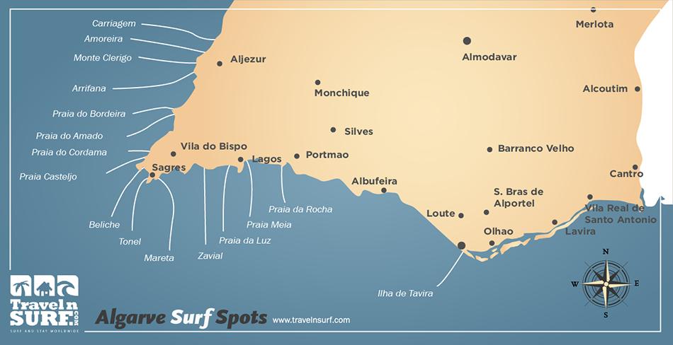 TravelnSurfcom Surfing In Sagres Algarve Portugal Europa - Portugal map sagres